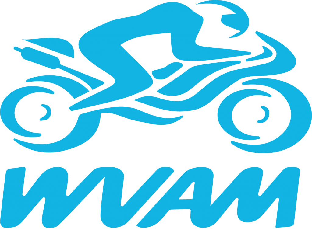 wvam logo with stylised motorcycle